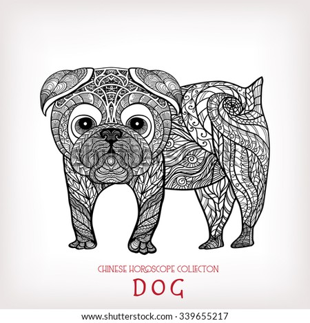 Dog. Chinese zodiac collection. Decorative outline hand drawn in zentangle style. Black and white. - stock vector