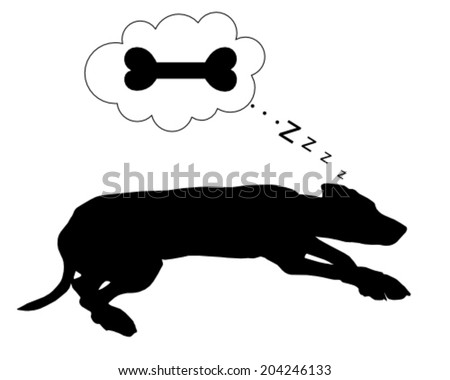 Dog dreams of feeding - stock vector