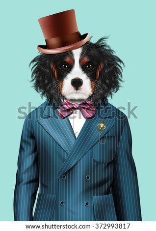 Dog dressed up in blue tuxedo and hat. Fashion vector  illustration of Cavalier King Charles Spaniel - stock vector