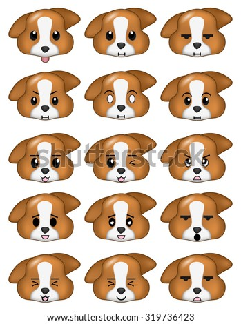 Dog Emoticons Set Different Expressions - stock vector