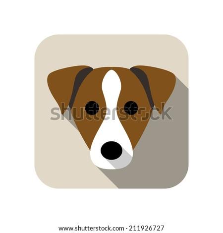 dog face flat icon - stock vector