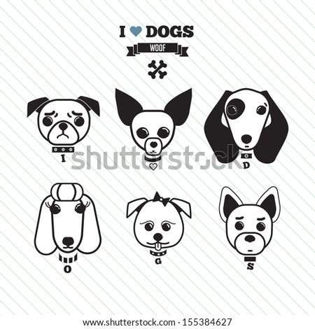 Dog faces - stock vector