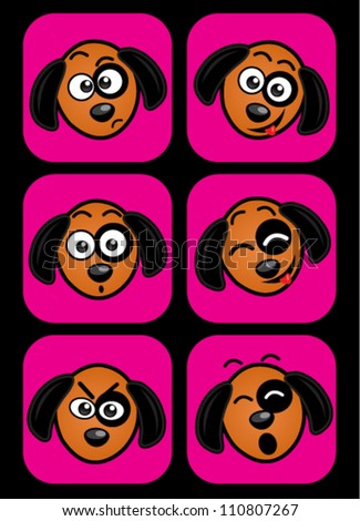 Dog facial expressions - stock vector