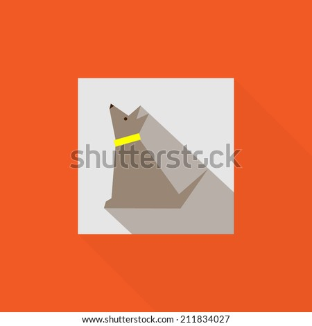 Dog flat icon with long shadow. - stock vector