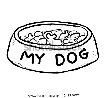 Dog Bowl Clipart Black And White