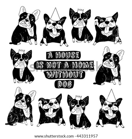 Dog French group bulldog happy home sign frame black and white poster. Monochrome vector illustration. EPS8 - stock vector