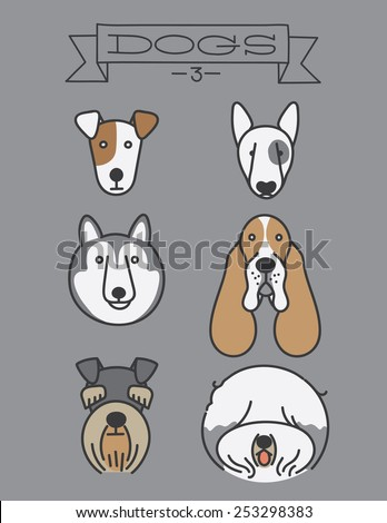 Dog heads. Isolated, Jack Russell Terrier, Bull Terrier, Siberian Husky, Basset Hound, Schnauzer, Old English Sheepdog   - stock vector