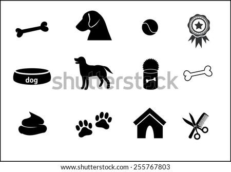 Dog icon set vector - stock vector