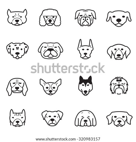 dog icons - stock vector