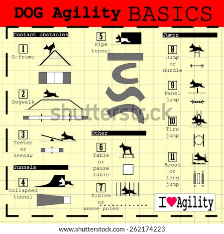 Dog Illustration - Listing of the basic agility obstacles, with elevations and plants stylized in black and white, which can be used in course marking drawings in training and agility competition - stock vector