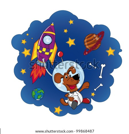 Dog in Space. Cartoon and vector isolated illustration - stock vector