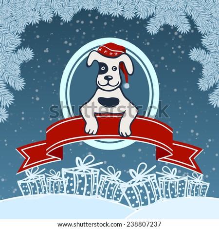 Dog in the Red Winter Hat - stock vector