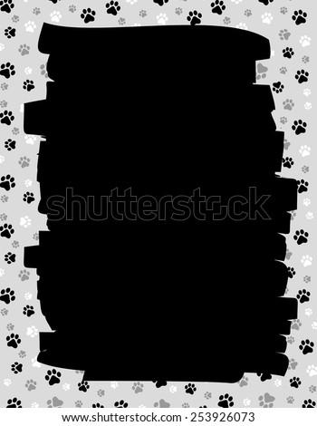 Dog paw print border / frame - stock vector