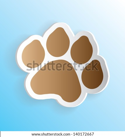 Dog Paw Print 3D Vector Peeling Sticker - stock vector