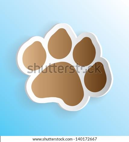 Dog Paw Print 3D Vector Peeling Sticker - stock vector