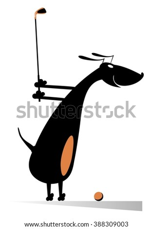 Dog playing golf. Cartoon dachshund is on the golf course  - stock vector