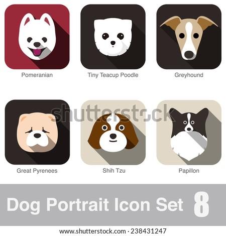 Dog portrait flat icon set - stock vector