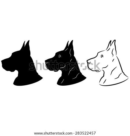 Dog Portrait Silhouette - stock vector