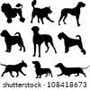 dog set - stock vector