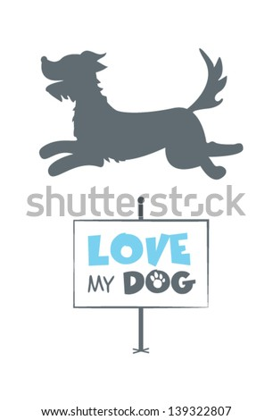 Dog silhouette with signboard - stock vector