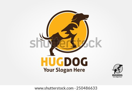 Dog silhouette with spot on the body, but the spot could be as a human hand who hold the dog. it's good for Pet logo, veterinary, or dog lover logo. - stock vector