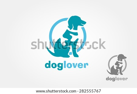 Dog silhouette with spot on the body, the spot also could be look as human hand, dog like get a hug. It's good for pet shop, pet house, pet clinic, dog care, or other pet activity.  - stock vector