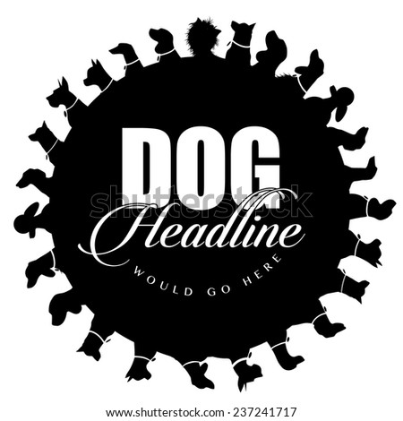 Dog silhouettes advertising background EPS 10 vector - stock vector