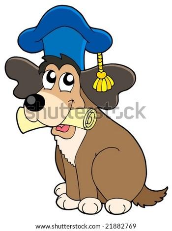 Dog teacher in hat - vector illustration. - stock vector