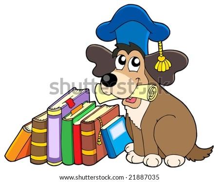 Dog teacher with books - vector illustration. - stock vector