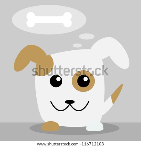 Dog thinking about food - stock vector