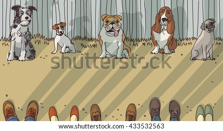 Dog training breeds and owner exercise. Color vector illustration. EPS8 - stock vector