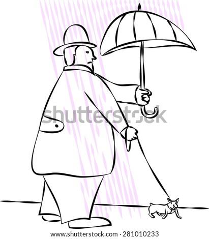 Dog walker in rainy day - stock vector