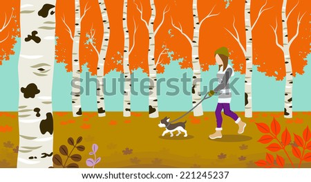 Dog walking in Autumn nature - stock vector