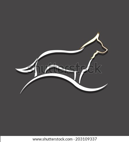 Dog white styled image. Concept of animal pet, veterinary, domesticated. - stock vector