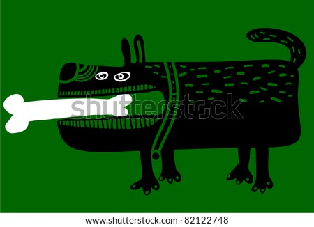 dog with a big bone in his mouth - stock vector