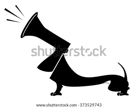 Dog with a megaphone head barks or announces something - stock vector