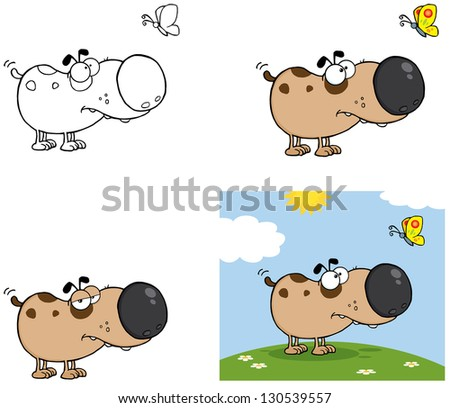 Dog with Butterfly. Vector Collection - stock vector