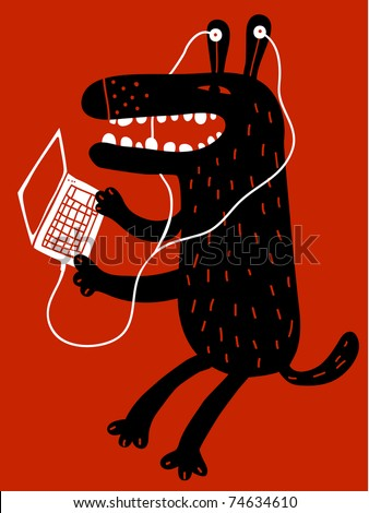 dog with earphones and laptop - stock vector