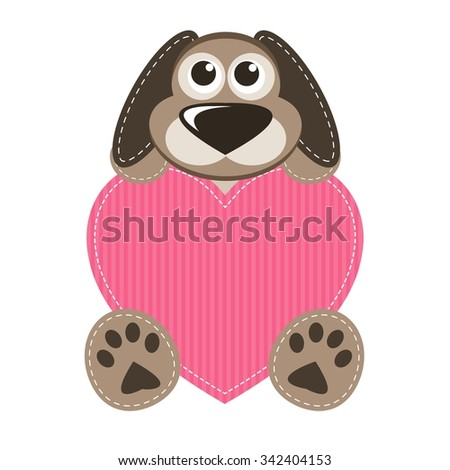 Dog with heart - stock vector