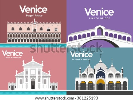 Doge's Palace,Rialto bridge,Church of San Giorgio,Saint Mark's Basilica in Venice,Italy - stock vector