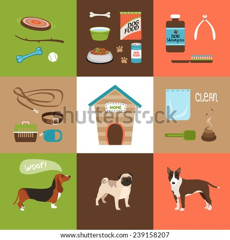 Dogs and dog accessories icons in a flat style. Vector illustration - stock vector