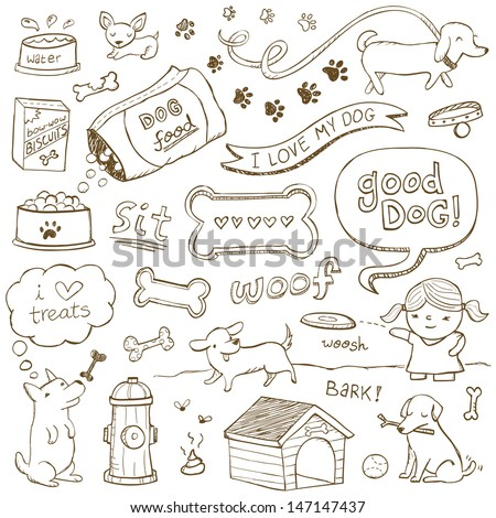 Dogs and dog accessories illustrated in a doodled style. - stock vector