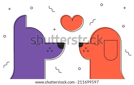 Dogs falling in love - stock vector