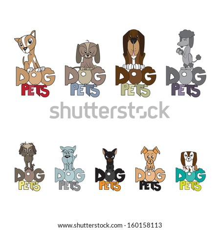 Dogs Group - Isolated On White Background - Vector Illustration, Graphic Design Editable For Your Design - stock vector
