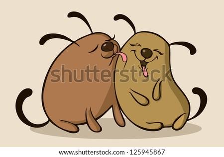 Dogs in love - stock vector