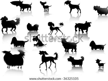 dogs silhouettes in vector - stock vector