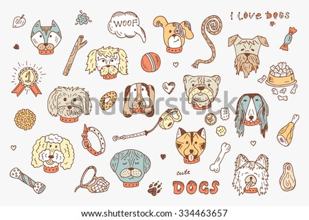 Dogs Vector Set. Dogs faces icons. Hand Drawn Doodles Dogs and accessories for pets - stock vector
