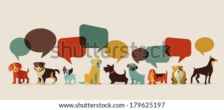 Dogs with speech bubbles - vector set of icons and illustrations - stock vector