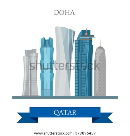 Doha in Qatar. Flat cartoon style historic sight showplace attraction web site vector illustration. World countries cities vacation travel sightseeing Asia collection. - stock vector