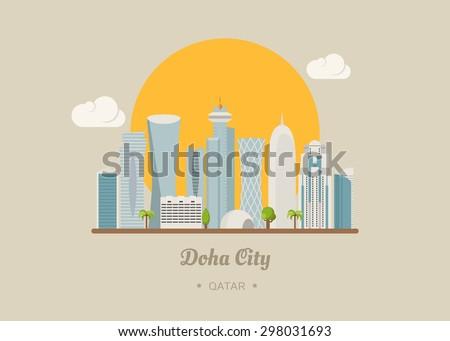 Doha Qatar famous buildings , eps10 vector format - stock vector